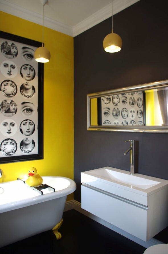 25 cool yellow bathroom design ideas freshnist for Bathroom decor yellow and gray